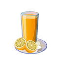 Orange juice and on the white background Royalty Free Stock Photography