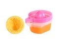 Orange juicer isolated on white Royalty Free Stock Photo