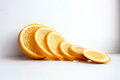 Orange juicy sliced on white background
