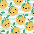 Orange kawaii fruits pattern set on decorative lines color background Royalty Free Stock Photo