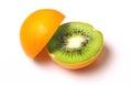stock image of  Orange with kiwi inside isolated on white.