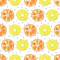 Orange and kiwi slices seamless vector background. Abstract summer fruit pattern with black dots on white. Royalty Free Stock Photo