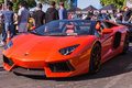 Orange lamborghini on exhibition parking at an annual event supe los angeles california usa abril supercar sunday day abril in Royalty Free Stock Image