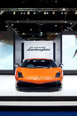 Orange lamborghini galardo sports car on display bangkok may at the super import show at impact muang thong thani may Stock Photo