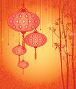 Orange lanterns and bamboo background contemporary illustration Royalty Free Stock Photos
