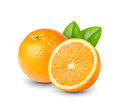 Orange with leaf ripe sliced fruit green leafs on white background Royalty Free Stock Photo