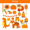 Orange. Learn the color. Education set. Illustration of primary Royalty Free Stock Photo