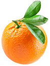 Orange with leaves isolated on a white background image maximum depth of field clipping path Stock Images