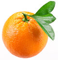 Orange with leaves isolated on a white background image maximum depth of field clipping path Stock Image