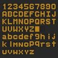 Orange LED digital english uppercase, lowercase font, number