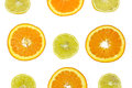 Orange and lemon slices isolated on white background Stock Photos