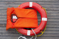 Orange life jacket. Royalty Free Stock Photo