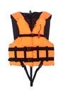 Orange Life Jacket Isolated with clipping path Royalty Free Stock Photo