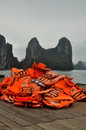 Orange Life Vests Royalty Free Stock Photo