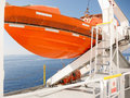 Orange lifeboat on deck of cruise ship Royalty Free Stock Photo
