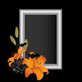 Orange lily frame and black lilies with bat accents bordering an empty Stock Photo