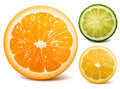 Orange, limette et citron. Photos libres de droits