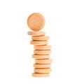 Orange lozenges isolated on white for infections of the mouth and throat background Royalty Free Stock Image