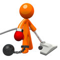 Orange Man Boxing Glove Ball and Chain Royalty Free Stock Photo