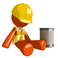 Orange Man Construction Worker  Beggar Royalty Free Stock Photo