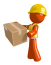 Orange Man Construction Worker  Delivering a Package Royalty Free Stock Photo