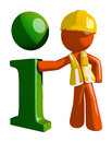 Orange Man Construction Worker  Info Icon Royalty Free Stock Photo
