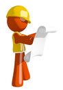 Orange Man Construction Worker  Reading Schematic Front Royalty Free Stock Photo