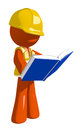 Orange Man Construction Worker  Standing Reading Book Royalty Free Stock Photo