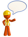 Orange Man Construction Worker  Word Bubble Royalty Free Stock Photo