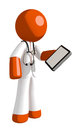Orange Man Doctor Holding PDA Royalty Free Stock Photo