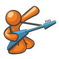 Orange Man Electric Guitar Royalty Free Stock Photography