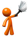 Orange Man Holding Feather Duster Stock Images