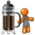 Orange Man with Large French Press Stock Image