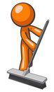 Orange Man Pushing a Broom, Sweeping Royalty Free Stock Photography