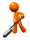 Orange Man Pushing a Broom, Sweeping Royalty Free Stock Image
