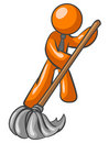 Orange man sweeping