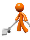Orange Man Vacuuming 3d Render Stock Photos