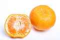 Orange mandarin tangerine fruit white background Stock Photos