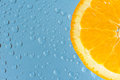 Orange with many water drops Royalty Free Stock Photo
