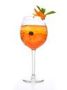 Orange margarita cocktail vodka crushed ice green mint in wine g Royalty Free Stock Photo