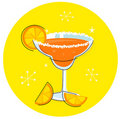 Orange Margarita: Retro cocktail icon Stock Photos
