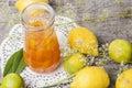 Orange marmalade lemon and with lemons on background Stock Photos