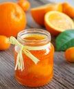 Orange marmalade vanilla selective focus Royalty Free Stock Photos