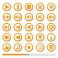 Orange Media Player Buttons Royalty Free Stock Photo