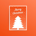 Orange merry christmas card with fir tree
