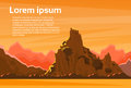 Orange Mountain Sunset Sky Landscape Flat Vector Royalty Free Stock Photo