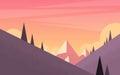 Orange Mountain Sunset Sky Landscape Royalty Free Stock Photo