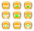 Orange music set 9 headphone with gadget . Royalty Free Stock Photo
