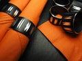 Orange Napkins with napkin rings Royalty Free Stock Photo