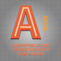 Orange neon alphabet and numbers vector set of Royalty Free Stock Image
